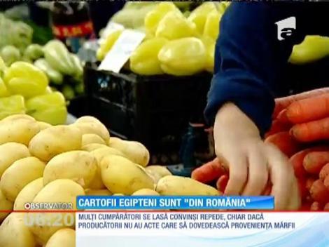 În pieţe sunt negustori care vând cartofi noi aduşi din Egipt cu etichetă de cartofi româneşti
