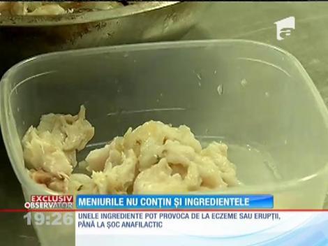 Meniurile din restaurante nu conțin și ingredintele preparatelor alimentare!