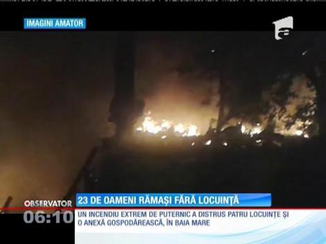Un incendiu violent a lăsat 23 de oameni sub cerul liber, în Baia Mare