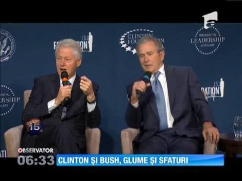 Bill Clinton şi George W. Bush, glume şi sfaturi