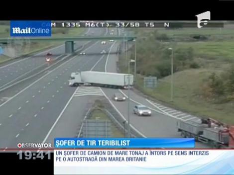 Șofer de TIR teribilist. A întors camionul pe autostradă!