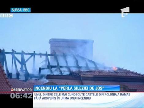 """Incendiu la Castelul """"Perla regiunii Silezia de Jos"""" din Polonia"""