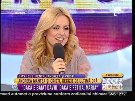 """Andreea Mantea şi Cristi Mitrea, întâlnire tensionată în platoul emisiunii """"Acces Direct""""! Cei doi au decis numele copilului"""