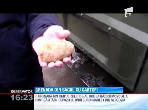 Grenadă descoperită în sacul cu cartofi