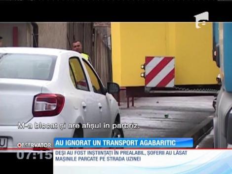 Transport agabaritic blocat de șoferi ignoranți