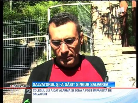 Dan Bistriceanu, un scafandru din Gorj, a stat două ore în apă, în peştera de lângă  Mănăstirea Tismana