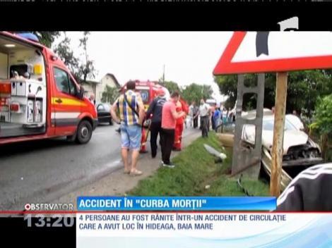 Accident cu 4 răniți în 'Curba Morţii' din Baia Mare
