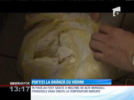 Brânză plină de viermi descoperită de inspectorii OPC într-o hală din Braşov