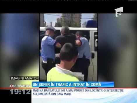 Panică într-o interesecţie din Baia Mare. Un șofer aflat în trafic a intrat în comă!