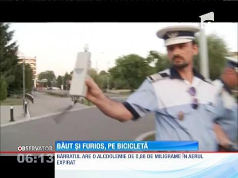 Un biciclist în stare de ebrietate a făcut show pe o stradă din Baia Mare