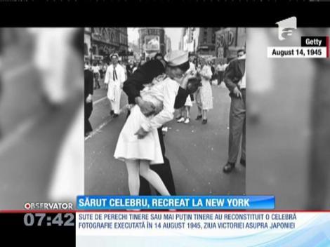 Sărut celebru de la sfârșitul celui de-Al Doilea Război Mondial, recreat la New York