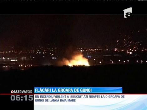 Baia Mare: Un incendiu de proporţii a izbucnit la o groapă de gunoi