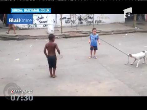 Un câine din Rio de Janeiro este cel mai bun partener de joacă al copiilor