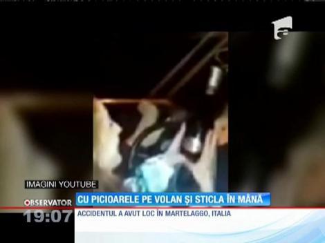 Val de revolta în Italia! O soferiţă româncă, surprinsă cu picioarele pe volan şi sticla de vin în mână