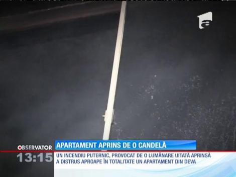 Un incendiu puternic a distrus un apartament din Deva