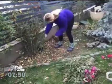 Andreea Bănică își gospodareşte prin gradină