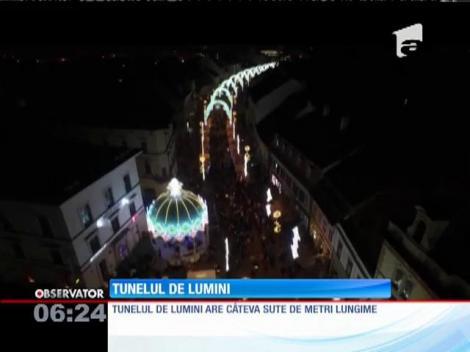 Tunelul de lumini din Sibiu a fost aprins
