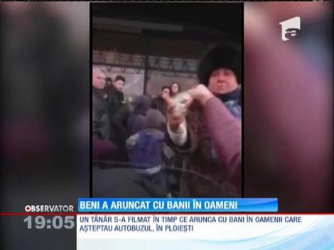 Cocalarul din Ploieşti care a aruncat cu bancnote de 1 leu într-o stația de autobuz, amendat cu 1.500 de lei