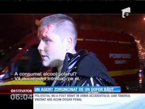Mașina unui ofiţer de la Poliţia Rutieră Maramureş a lovită puternic de un alt autoturism, condus de un tânăr băut