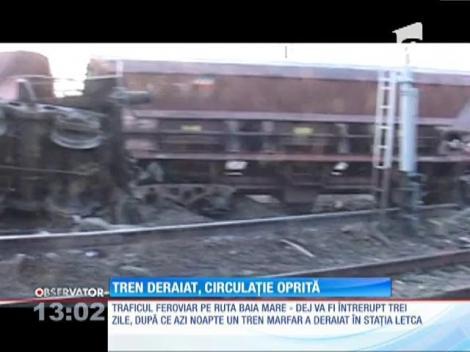 Un tren marfar a deraiat pe ruta Baia Mare - Dej