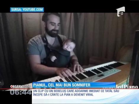 VIDEO ADORABIL! Pianul, cel mai bun somnifer pentru un bebeluş