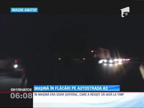 O maşină s-a făcut scrum aseară pe autostrada A3