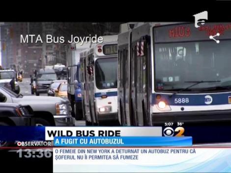 O femeie din New York a deturnat un autobuz pentru că şoferul nu îi permitea să fumeze