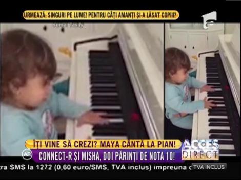 Un copil adorabil! La doar doi anişori, Maya, fetiţa lui Connect-R, cântă la PIAN