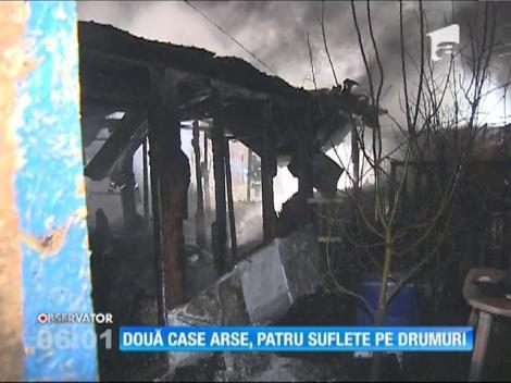 Incendiu în Voluntari. Două case s-au făcut scrum