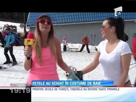Două tinere din județul Alba au schiat în costume de baie