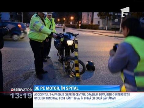 Un motociclist din Deva a fost izbit în plin de o mașină