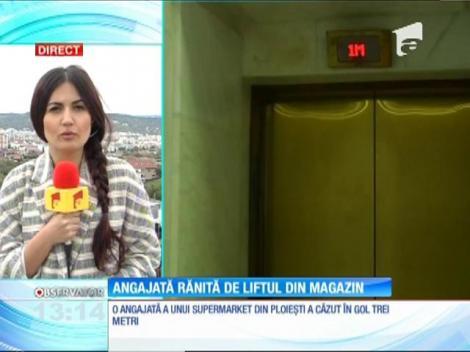 Angajata unui supermarket din Ploieşti a căzut în gol trei metri