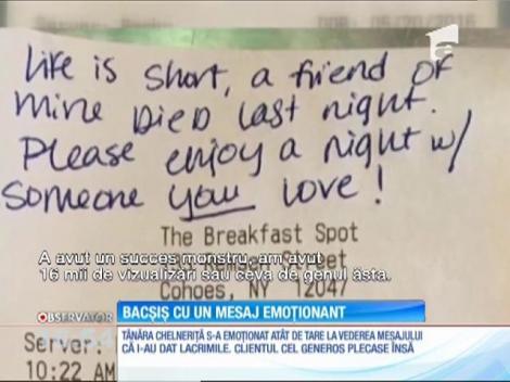 O chelneriţă din New York a primit un bacşiş generos, însoţit de un mesaj emoţionant
