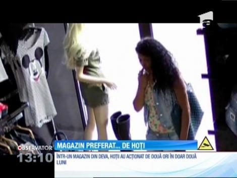 O femeie a fost filmată în timp ce a furat o pereche de cizme dintr-un magazin din centrul Devei