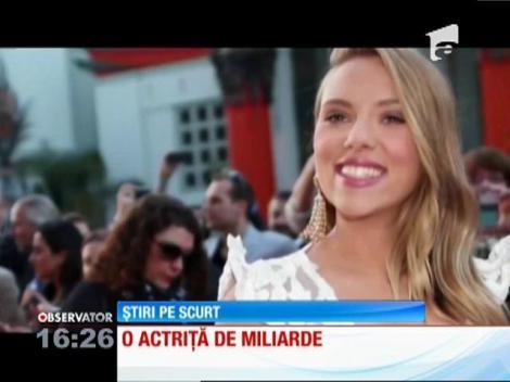 Scarlett Johansson, desemnată actriţa care a generat cele mai mari venituri din istoria cinematografiei americane