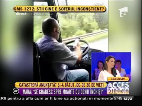 Un şofer de autocar care transporta 30 de persoane, cu ochii și mâinile pe telefon!