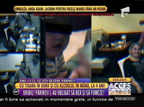 La patru ani, cu ţigara în gură şi cu sticla de alcool în mână!