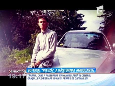 Un tânăr din Ploiești a răsturnat o ambulanță în misiune