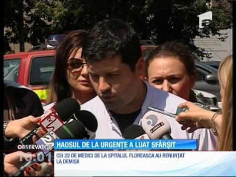 Haosul de la Spitalul Floreasca a luat sfârșit. Cei 22 de medici de la Urgenţă au renunţat la demisii
