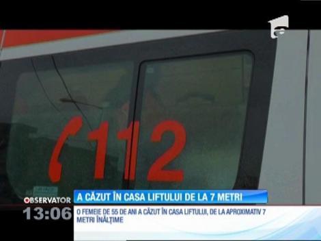 Incident extrem de grav într-un bloc din Ploieşti. O femeie de 55 de ani a căzut în casa liftului de la aproximativ 7 metri înălţime