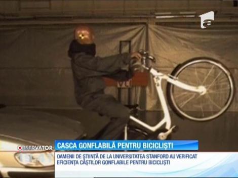 Casca gonflabilă pentru biciclişti