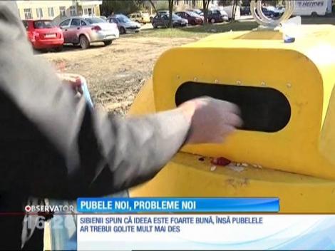 Pubele diferite pentru gunoiul menajer şi la Sibiu