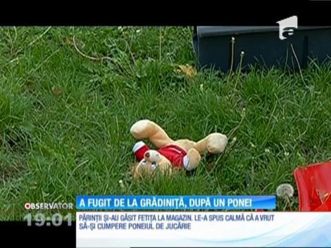 O fetiță de patru ani a fugit de la grădiniță, după un ponei de jucărie