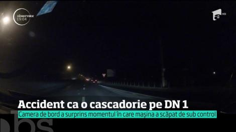 Accident ca o cascadorie pe DN1