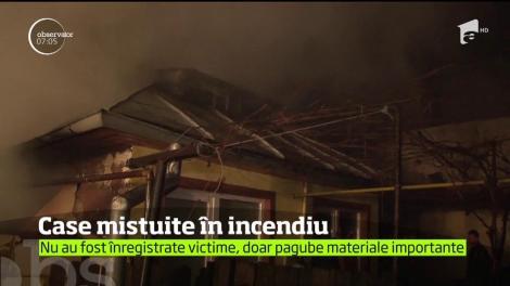 Incendiu de proporţii într-un cartier de la periferia Ploieştilui. Cinci case au fost mistuite de flăcări