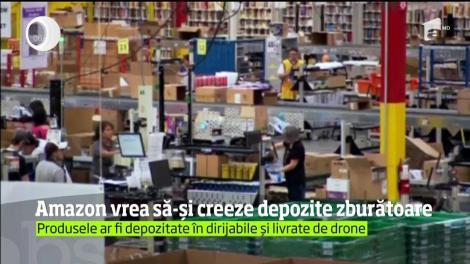 """Grupul comercial Amazon a solicitat un brevet de invenţie pentru """"depozite zburătoare"""""""