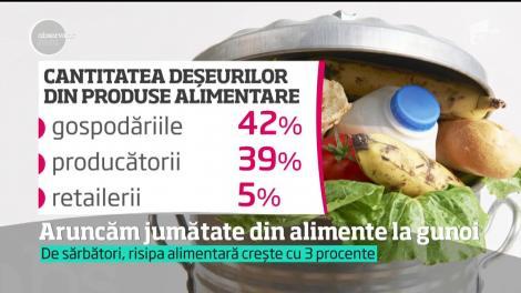 Aruncăm jumătate din alimente la gunoi! Românii, printre cei mai risipitori dintre europeni