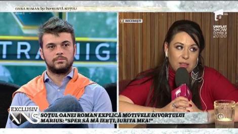 """Marius Elisei, faţă în faţă cu Oana Roman, în direct: """"Sper să mă ierţi, iubita mea!"""""""