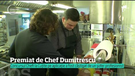 Video. Câştigătorul concursului Chefi la Cuţite de pe aplicaţie s-a bucurat de un curs de gătit cu Chef Florin Dumitrescu! Cum s-a descurcat tânărul