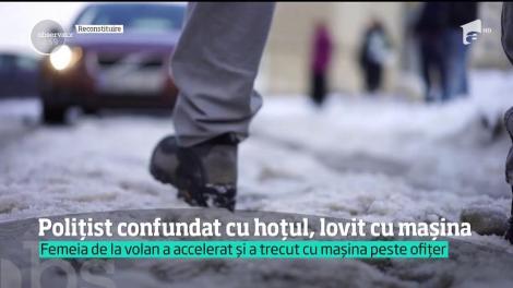 O tânără din Baia Mare a călcat cu maşina un poliţist
